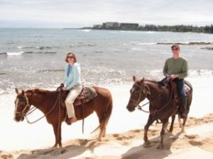 horses on beach Oahu